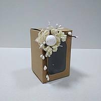 Коробочка для подарка, писанки  крафт с декором 70х70х105 мм.