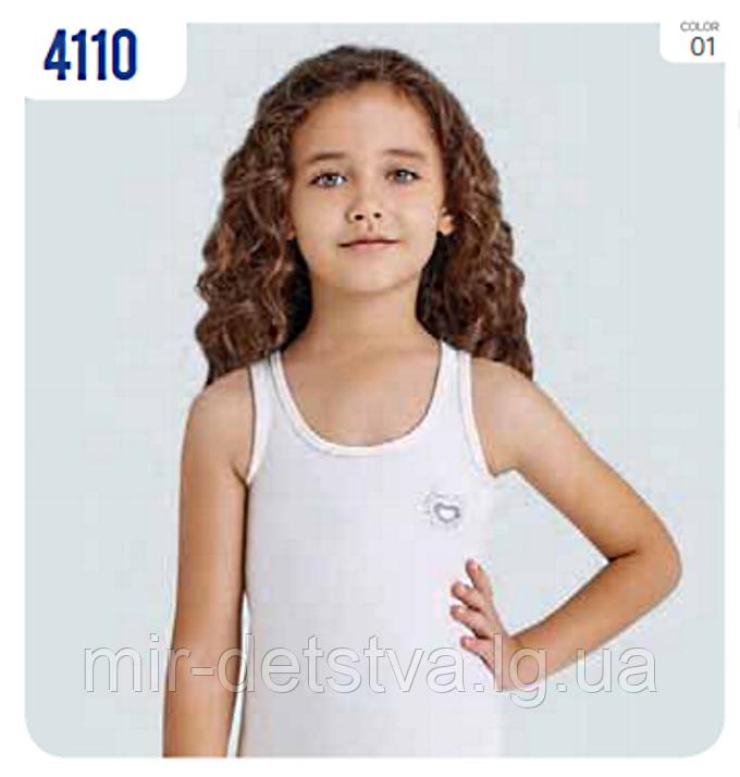 """Майка белая для девочек """"Блестящие"""" ТМ Baykar, Турция оптом р.3 (122-128 см)"""