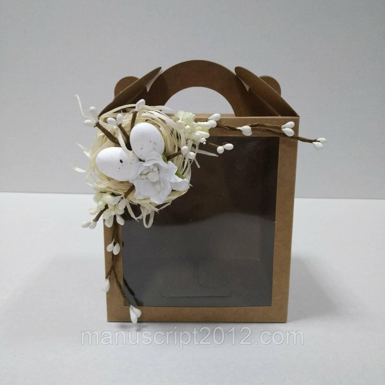 Коробка для кулича, подарков и пряничных домов с декором (115*120*140 мм)