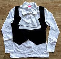 """Детская блузочка-обманка с длинным рукавом """"Жабо"""""""