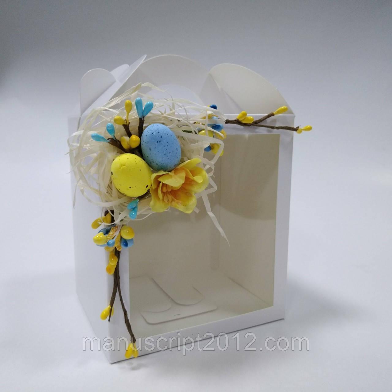 Коробка для кулича, пряничных домов и подарков с декором (115*120*140 мм)