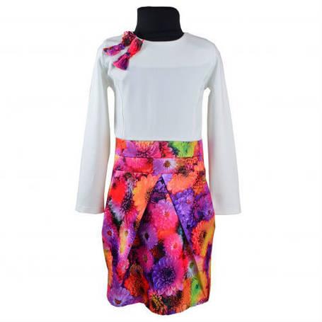 Детское оригинальное платье Цветок с юбкой в форме тюльпана и бантиками, трикотажный верх, атласная юбка KS08, фото 2