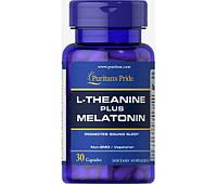 Л-теанин плюс мелатонин Puritan's Pride L-Theanine Plus Melatonin (30 капс) (105003) Фирменный товар!