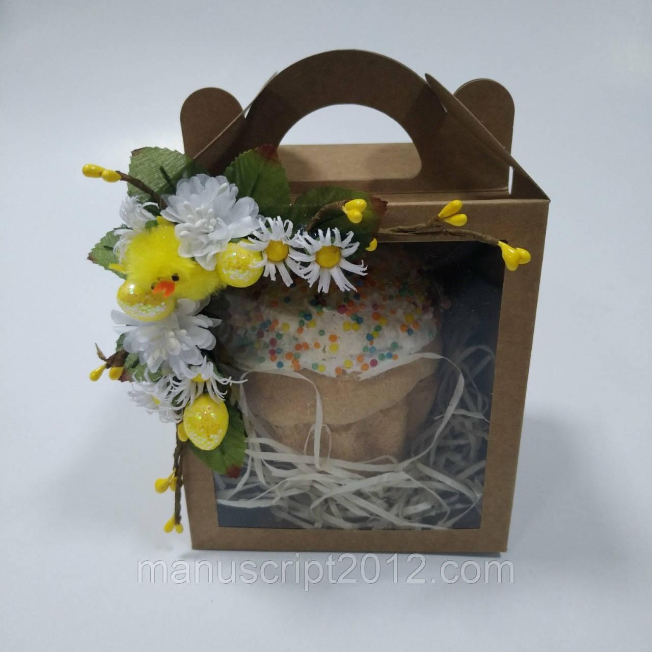 Коробка для кулича, пряничного домика, подарка крафт  11,5х12х14 см. с декором