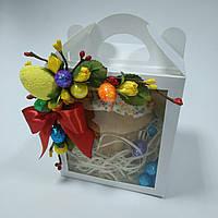 Коробка для кулича, пряничного домика, подарка 11,5х12х14 см. с декором, фото 1
