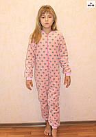 Детский комбинезон теплый для девочки в горошек флис 32-38 р.