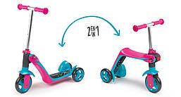 Детский самокат-трансформер беговел 2 в 1 с металлической рамой трехколесный розовый Smoby 750603