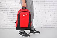 Рюкзак городской вместительный с кожаными вставками Nike, цвет красный