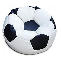 Кресло-мяч KatyPuf белое с черным Оксфорд