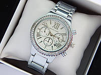 Женские наручные часы копия Michael Kors c римскими цифрами серебряного цвета, хронографы, дата, фото 1