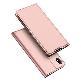 Чехол книжка для Xiaomi Redmi 7A боковой с отсеком для визиток, DUX DUCIS, золотисто-розовый