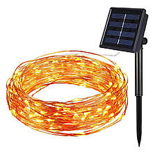 Светодиодный шнур гирлянда на солнечной батарее «TY-N002» 10м 100LED теплый свет