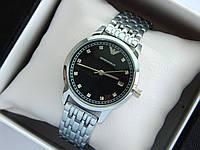 Кварцевые наручные часы Emporio Armani серебряные, черный циферблат, стразы на метках, отображение даты, фото 1