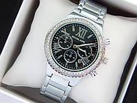 Женские наручные часы Michael Kors c римскими цифрами, серебро, черный циферблат, хронографы, дата, фото 1
