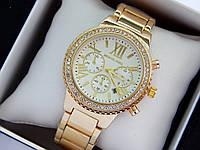 Жіночі наручні годинники Michael Kors c римськими цифрами, золото, світлий циферблат, хронографи, дата, фото 1