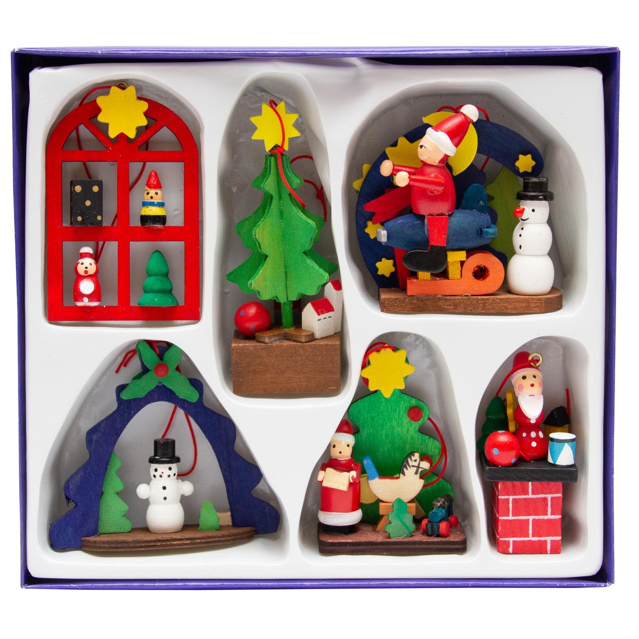 Набор новогодних игрушек  - деревянные фигурки, 6 шт, 19*17 см, разноцветный, дерево (060436)