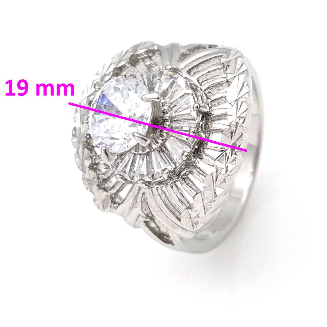 Кольцо Массивное с цирконием, р.18, родированное