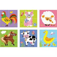"""Пазл-кубики для детей от 2 лет Viga Toys """"Ферма"""" - красочный деревянный набор для 6 разных картинок"""