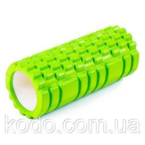 Массажный ролик (роллер UForce 33х14см) валик масажный для фитнеса йоги и пилатеса Салатовый, фото 2