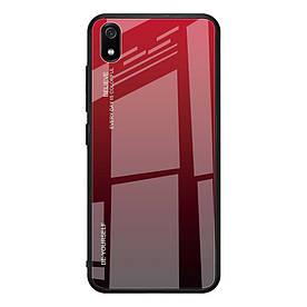 Чехол накладка для Xiaomi Redmi 7A с зеркальной поверхностью, Градиент, красный