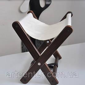 Подставка для сумки, подставка складная для сумки коричневая с белой тканью