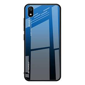 Чехол накладка для Xiaomi Redmi 7A с зеркальной поверхностью, Градиент, синий