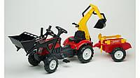 Детский трактор на педалях с прицепом, передним и задним ковшом RANCH FALK (2051CN)