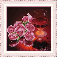 """""""Розы и вино"""" Набор для вышивания нитками на канве с нанесенным рисунком"""