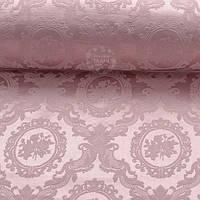 Ткань жаккард шенилл пике с розами в овалах, цвет розовой пудры (№2373)