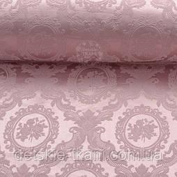 Ткань жаккард для покрывал с розами в овалах, цвет розовой пудры (№2373)