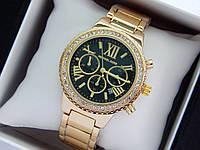 Женские наручные часы Michael Kors c римскими цифрами, золото, черный циферблат, хронографы, дата, фото 1