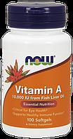 Витамин А Now Foods Vitamin А 10 000 IU (100 желатиновых капсул)