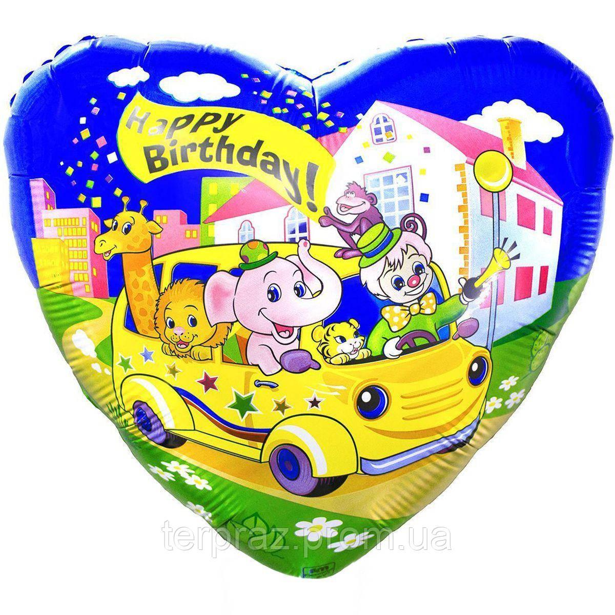 Фольгированные шары с рисунком друзья в автомобиле(fm)