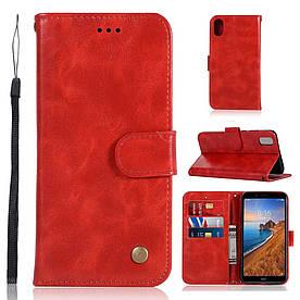 Чехол книжка для Xiaomi Redmi 7A боковой с отсеком для визиток, Premium Vintage, красный