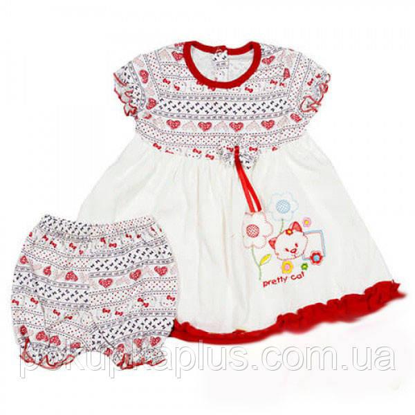 Платье белое для малышки Hello kitty 1-2 года
