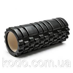 Массажный ролик (роллер UForce 33х14см) валик масажный для фитнеса йоги и пилатеса Черный