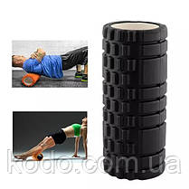Массажный ролик (роллер UForce 33х14см) валик масажный для фитнеса йоги и пилатеса Черный, фото 3