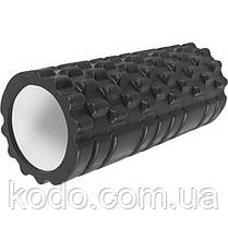 Массажный ролик (роллер UForce 33х14см) валик масажный для фитнеса йоги и пилатеса Черный, фото 2