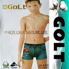 Детские подростковые боксеры G-3516 Golt от 4 до 12 лет в упаковке ТДБ-2994