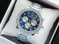 Женские наручные часы копия Michael Kors c рифленым браслетом, серебро, синий циферблат, хронографы, дата, фото 1