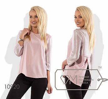 Блуза прямого кроя из софта с рукавом 3/4 из трикотажного люрекса и фигурным разрезом по спинке 10920