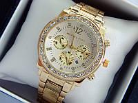 Женские наручные часы копия Michael Kors c рифленым браслетом, золото, светлый циферблат, хронографы, дата, фото 1