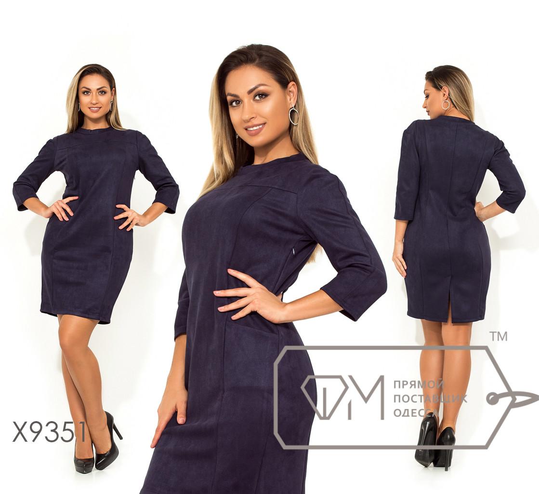 """Платье-мини приталенного кроя с рукавами 3/4, воротником """"стойка"""" и фигурными вытачками X9351"""