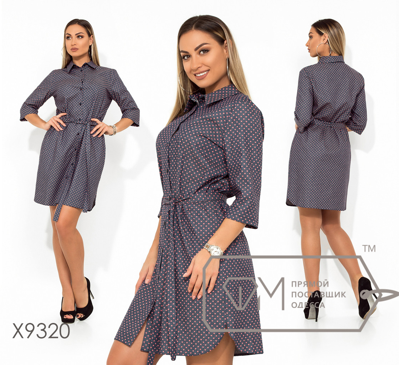 Платье-рубашка миди прямое из коттона под пояс с рукавами 3/4, застёжкой по всей длине и боковыми разрезами X9320