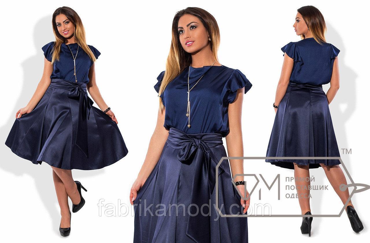 Костюм - прямая блуза из шёлка Армани с украшением и расклешённая юбка миди из атласа на поясе X5558