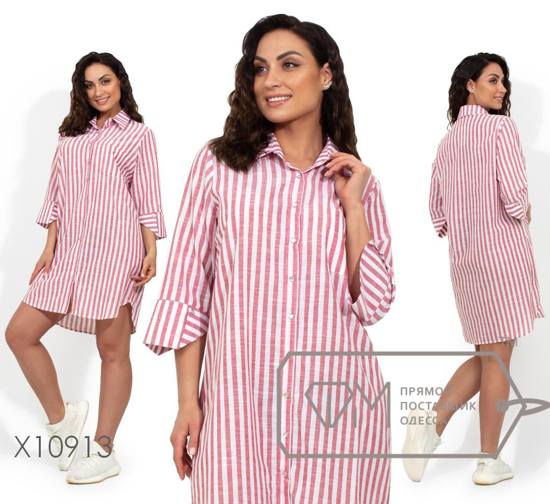 Платье-рубашка в полоску из тонкого коттонас застежкой по всей длине, рукавами 3/4 и закругленным подолом X10913