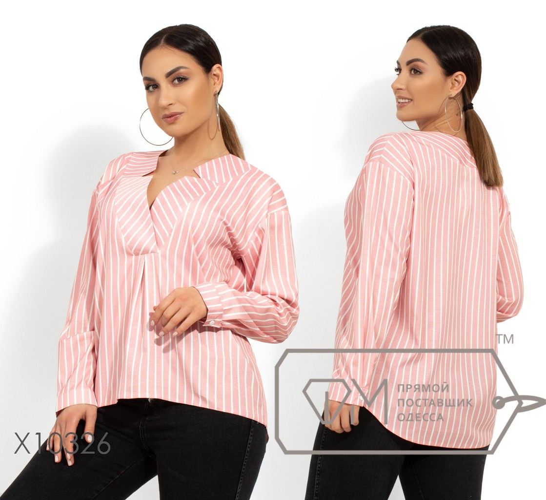 Рубашка с широким V-образным воротником и низко втачными рукавами с манжетами X10326