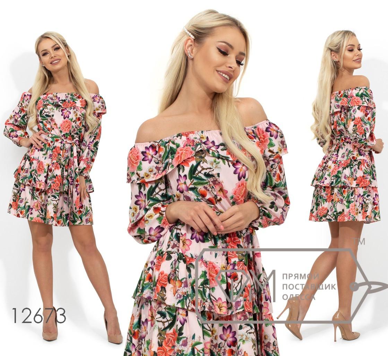 Летнее платье с цветочным принтом, открытыми плечами, по талии на резинке и съемным поясом 12673