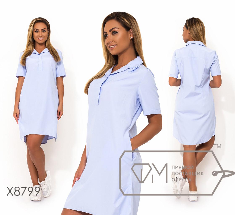 Платье-рубашка мини из ткани коттон с воротником-поло на застёжке, рукавами 3/4 и асимметричным подолом X8799
