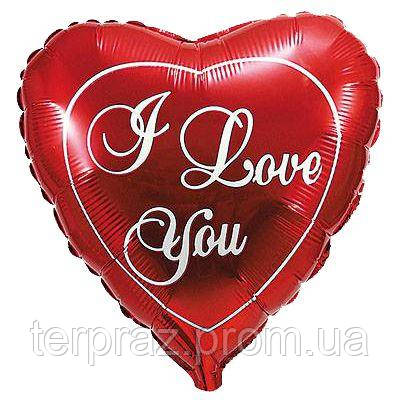 Фольгированные шары с рисунком   красное сердце/fm